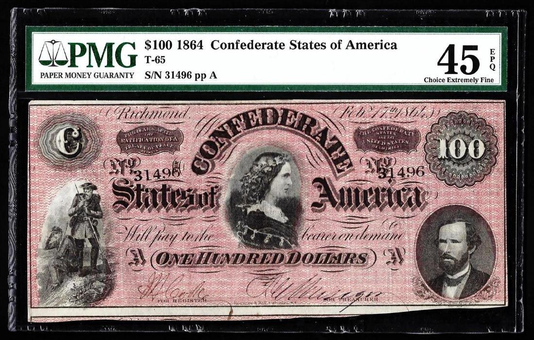 1864 $100 The Confederate States of America Note PMG
