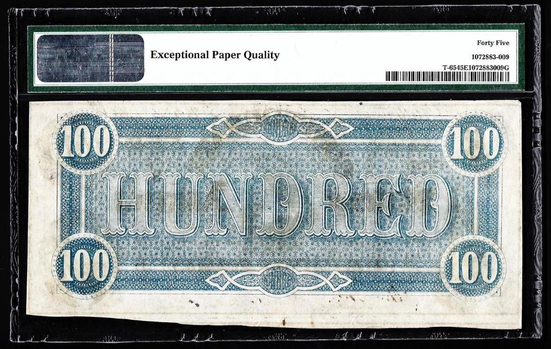 1864 $100 The Confederate States of America Note PMG - 2