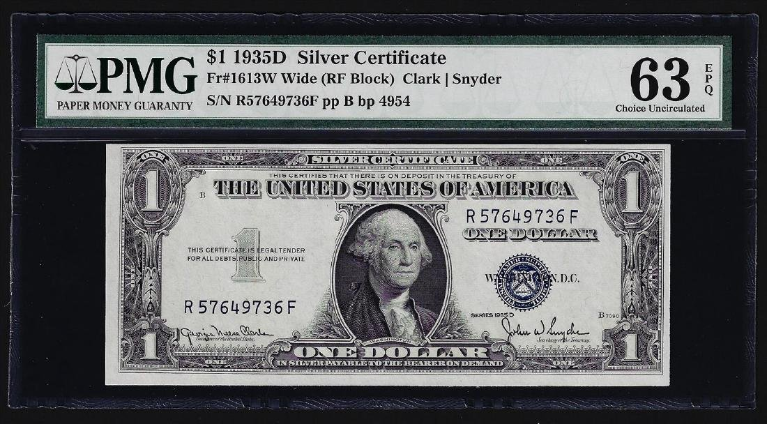 1935D $1 Silver Certificate Note Wide PMG Choice