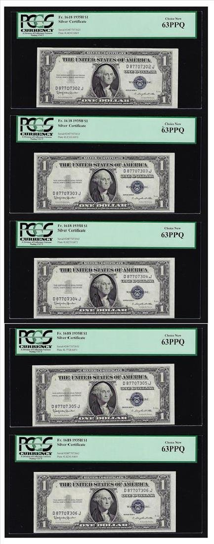 (5) Sequential 1935H $1 Silver Certificate Notes PCGS
