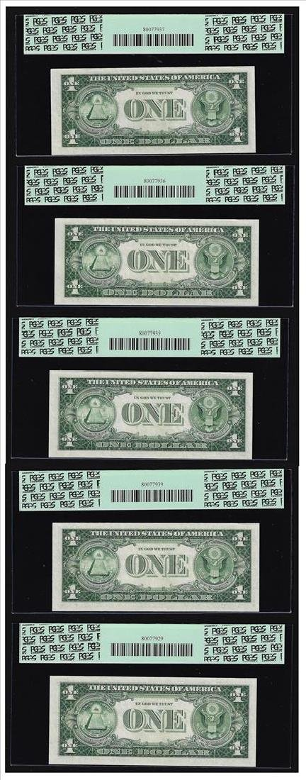 (5) Sequential 1935H $1 Silver Certificate Notes PCGS - 2