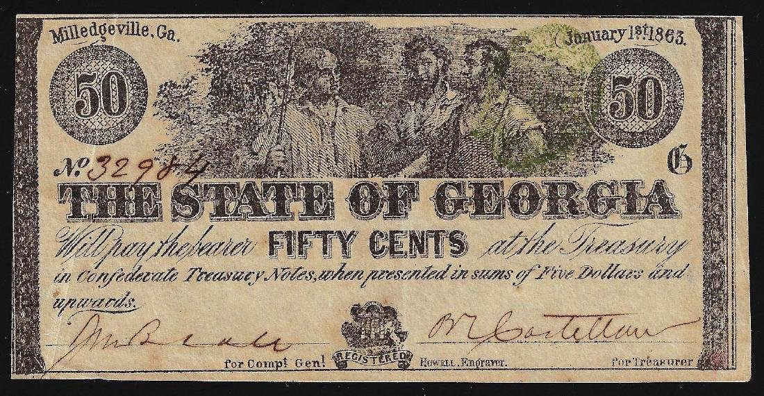 1863 Fifty Cents The State of Georgia Obsolete Note