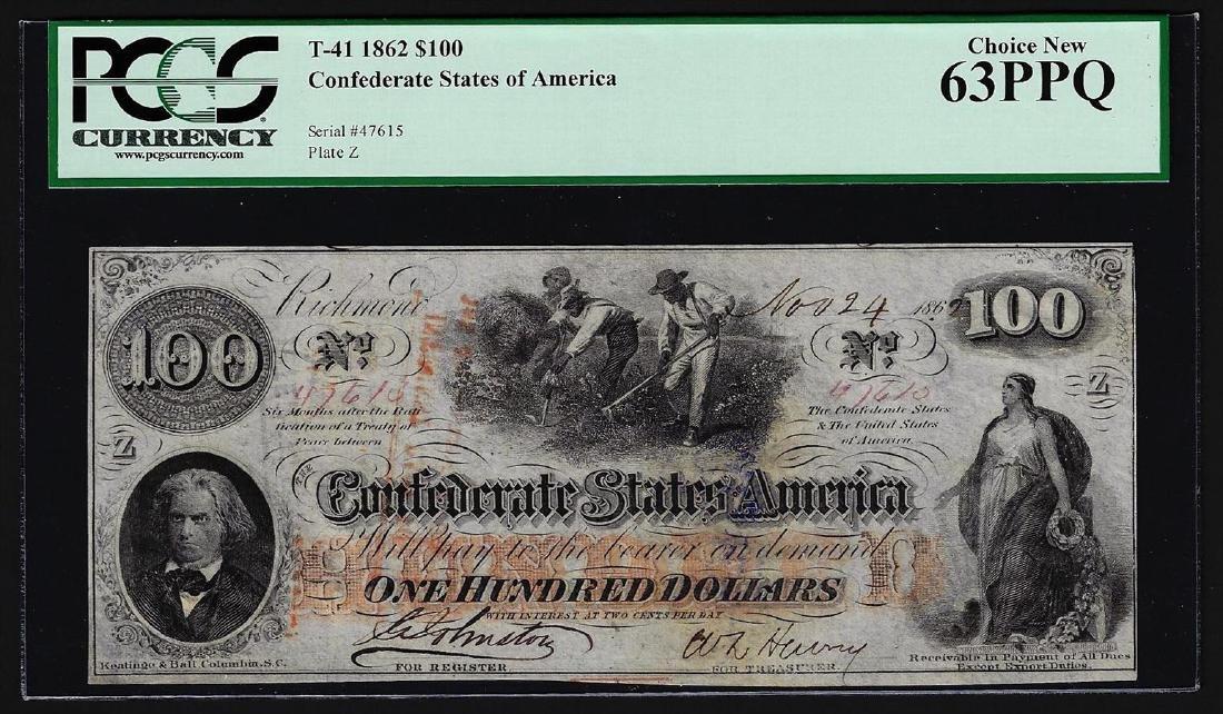 1862 $100 Confederate States of America Note PCGS