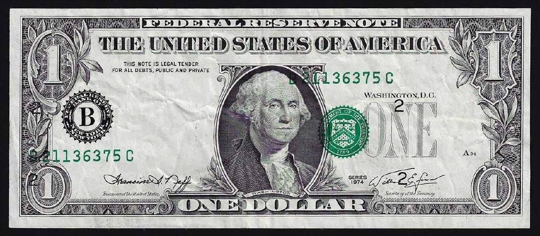 1974 $1 Federal Reserve Note ERROR Major Shift
