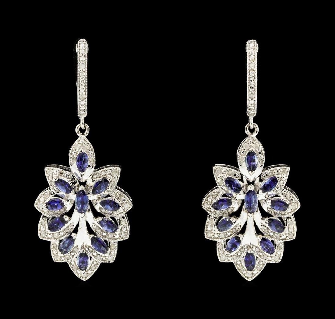 SILVER 2.36ctw Tanzanite and Diamond Earrings