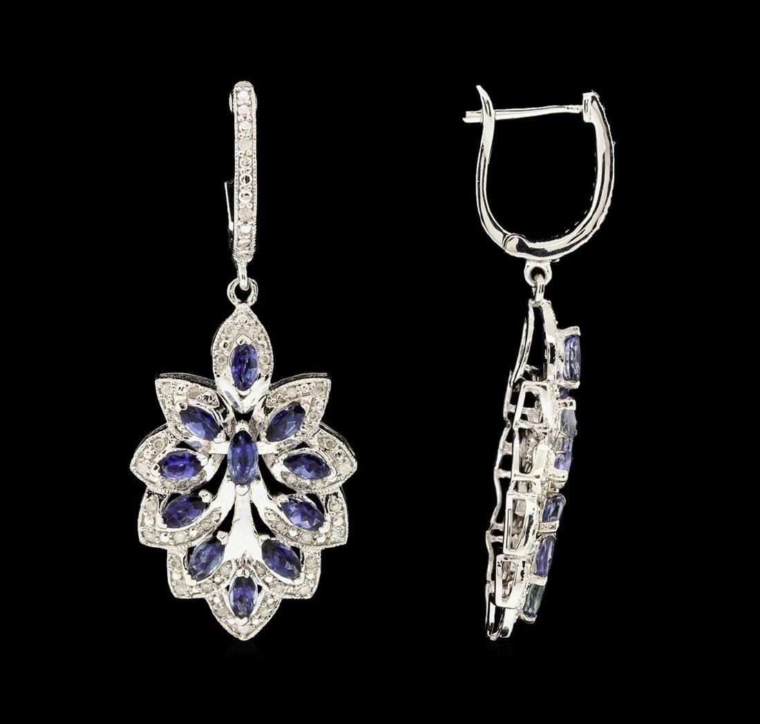 SILVER 2.36ctw Tanzanite and Diamond Earrings - 2