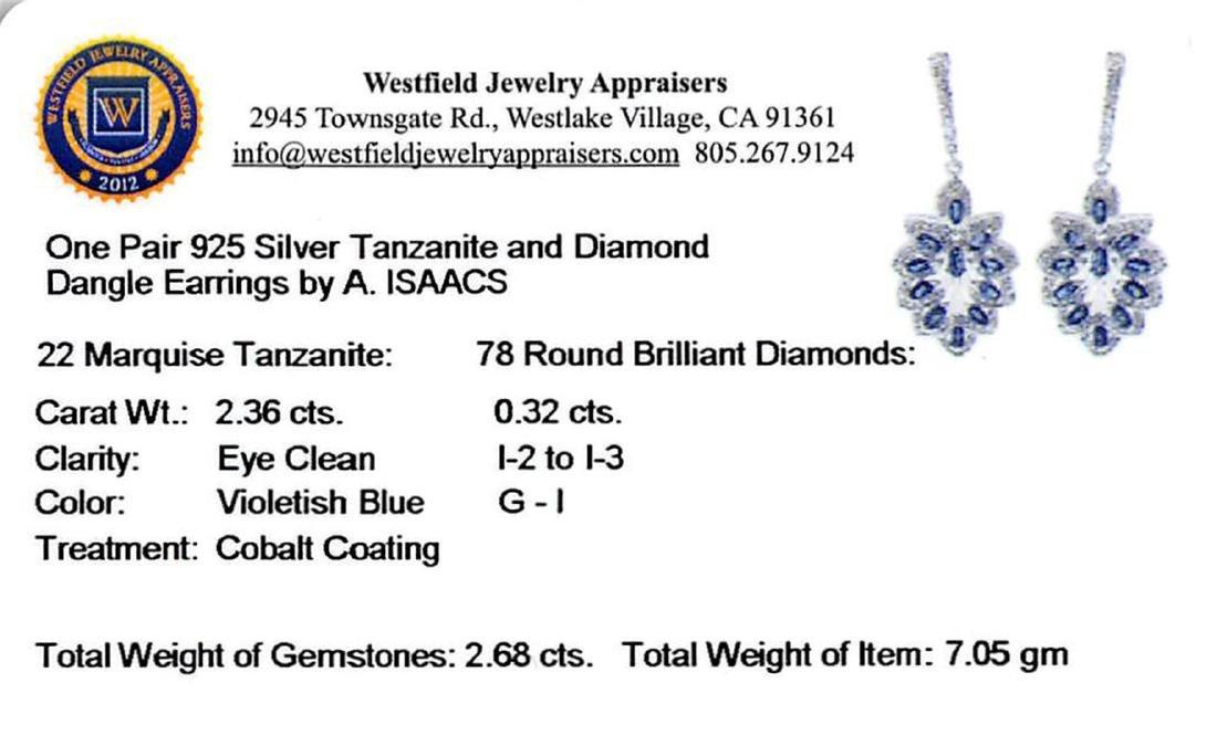 SILVER 2.36ctw Tanzanite and Diamond Earrings - 3