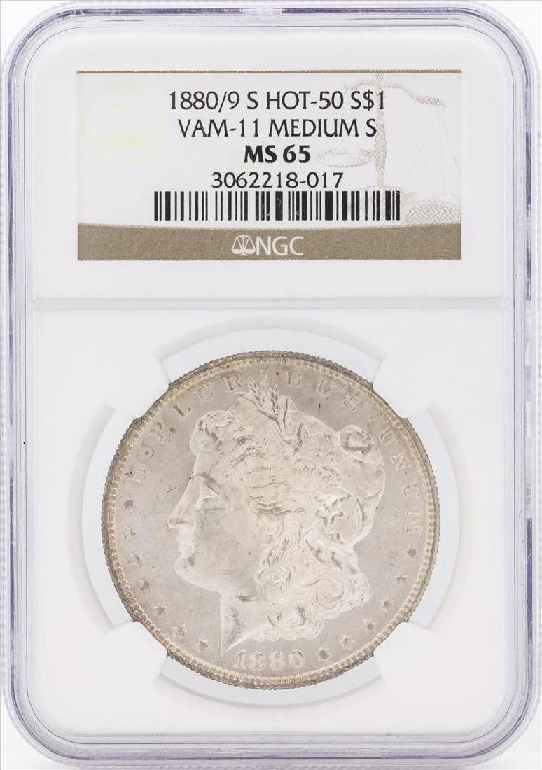 1880/9-S $1 Morgan Silver Dollar Coin VAM-11 NGC MS65