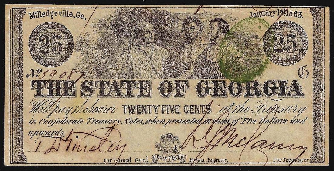 1863 Twenty-Five Cents The State of Georgia Obsolete