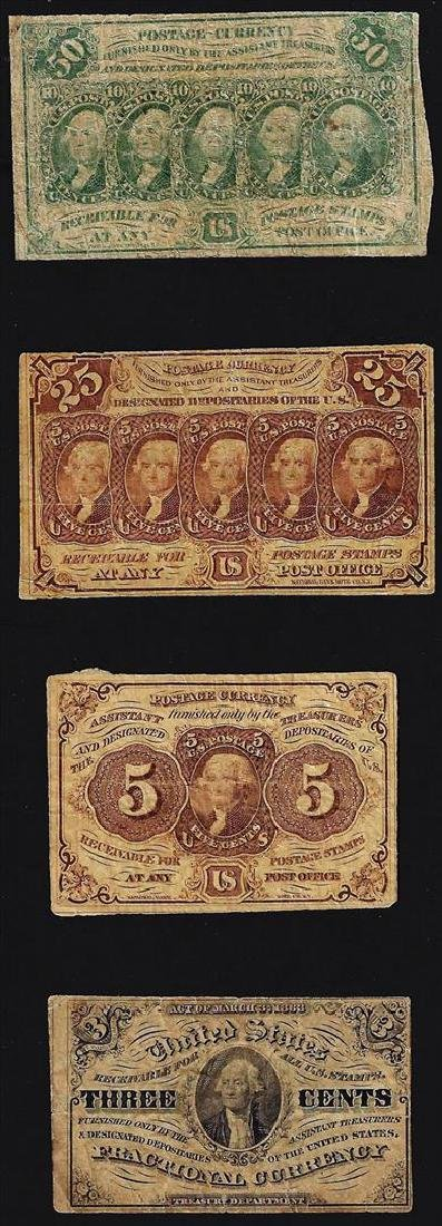 Lot of (4) U.S. Fractional Currency Note
