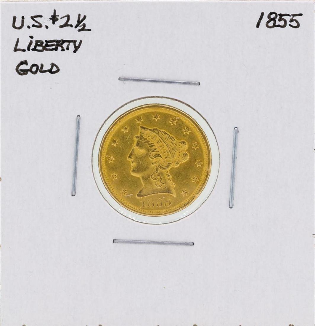 1855 $2 1/2 Liberty Head Quarter Eagle Gold Coin