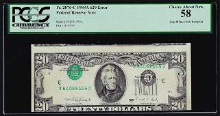 1988A $20 Federal Reserve Note Type II Inverted