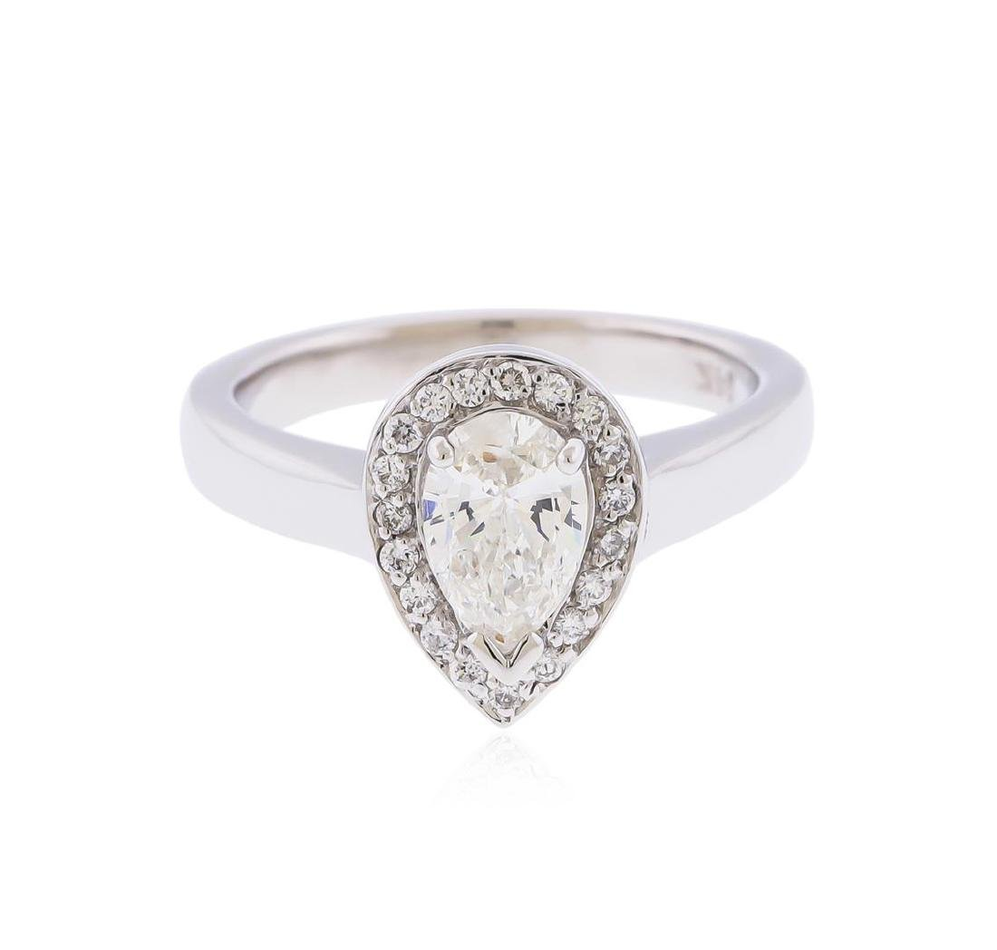 14KT White Gold 0.97ctw Pear Shaped Diamond Engagement