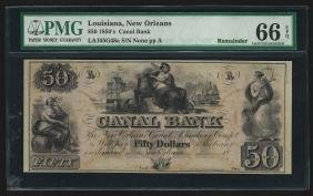 1850's $50 New Orleans Canal Bank Obsolete Note PMG Gem