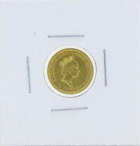 1990 10 Pound Britannia 1/10 oz. Gold Coin