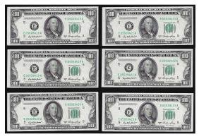 (6) Consecutive 1950A $100 Federal Reserve Notes