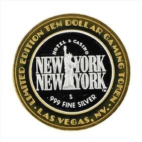 .999 Silver New York New York $10 Casino Gaming Token