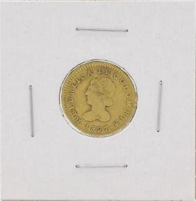 1827 Columbia 1 Popayan Gold Coin