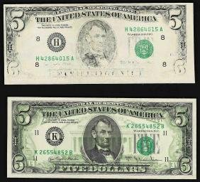Lot of (2) $5 Federal Reserve Error Notes