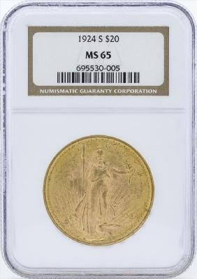 1924-S $20 St. Gaudens Double Eagle Gold Coin NGC MS65