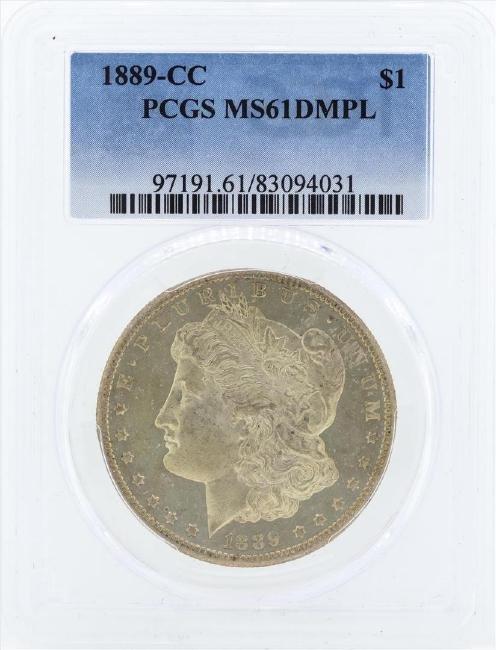1889-CC $1 Morgan Silver Dollar Coin PCGS MS61DMPL