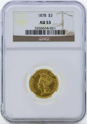 1878 $3 Indian Princess Head Gold Coin NGC AU53