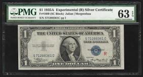 1935A $1 Experimental Silver Certificate Note PMG