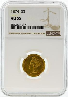 1874 $3 Indian Princess Head Gold Coin NGC AU55