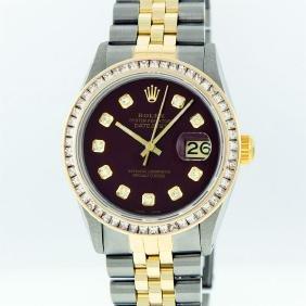 Rolex Mens Two Tone 14KT Yellow Gold 2.95ctw Diamond