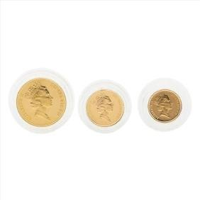Set of (3) 1987 United Kingdom Gold Proof Coins