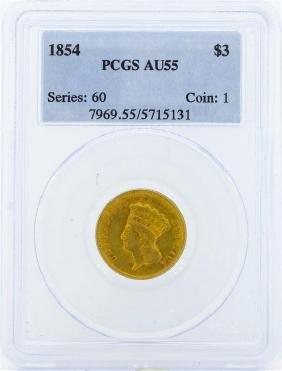1854 $3 Indian Princess Head Gold Coin PCGS AU55