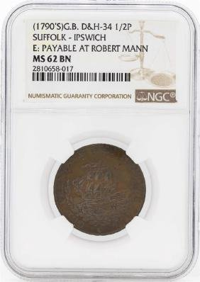 1790's Great Britain 1/2 Penny Suffolk Coin NGC MS62BN