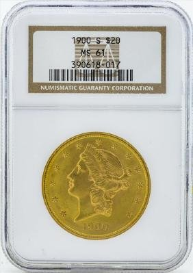 1900-S $20 Liberty Head Double Eagle Gold Coin NGC MS61