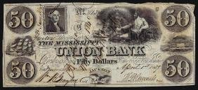 1839 $50 The Mississippi Union Bank Obsolete Note