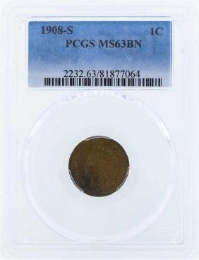 1908-S Indian Head Cent Coin PCGS MS63BN