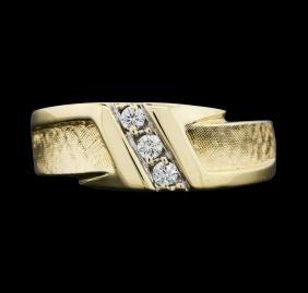14KT Yellow Gold Men's 0.15ctw Diamond Ring
