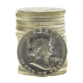 Roll of (20) 1954-D Brilliant Uncirculated Franklin