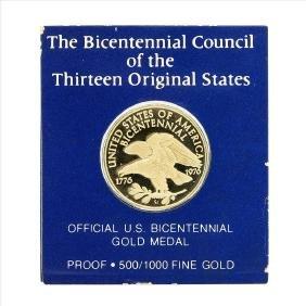 1976 Official U.S. Bicentennial Gold Medal Franklin