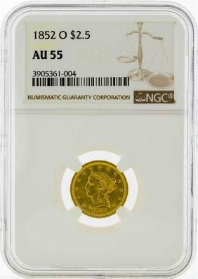 1852-O $2 1/2 Liberty Head Quarter Eagle Gold Coin NGC
