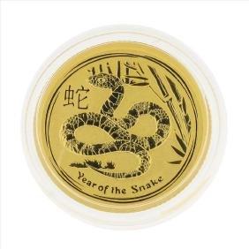 2013 $15 Australia 1/10 oz Lunar Year of the Snake Gold
