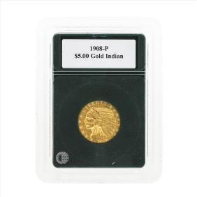 1908-P $5 Indian Head Half Eagle Gold Coin