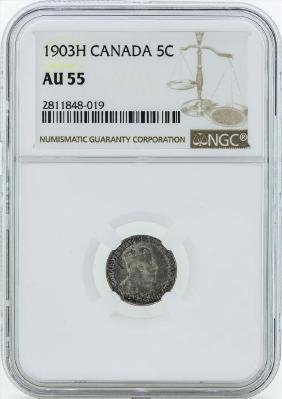 1903H Canada 5 Cent Coin NGC AU55