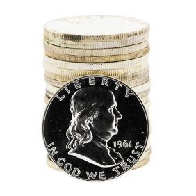 Roll of (20) Assorted Franklin Proof Silver Half Dollar