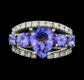 14K White Gold 4.15 ctw. Tanzanite and Diamond Ring