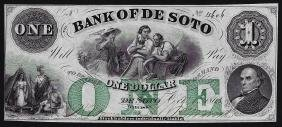 1863 $1 The Bank of De Soto Obsolete Bank Note