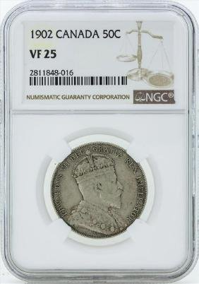 1902 Canada 50 Cent Coin NGC VF25