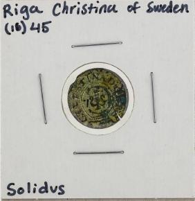1645 Riga Christina of Sweden Solidus Coin