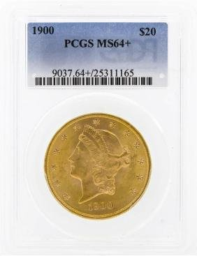 1900 $20 Liberty Head Double Eagle Gold Coin PCGS MS64+