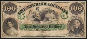 1800's $100 The Citizens Bank of Louisiana Obsolete