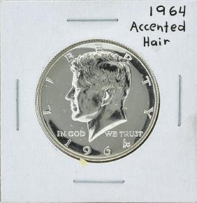 1964 Kennedy Accented Hair Half Dollar Coin